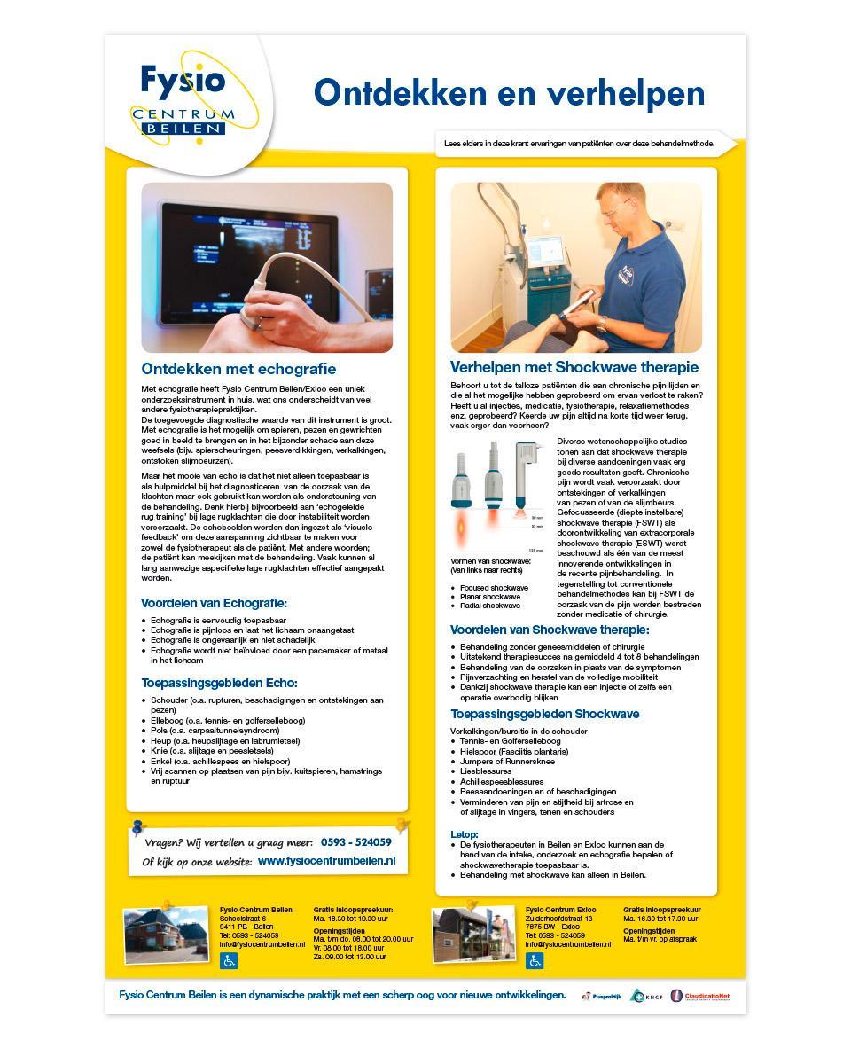 Advertentie ontwerp voor shockwave-therapie en echografie.