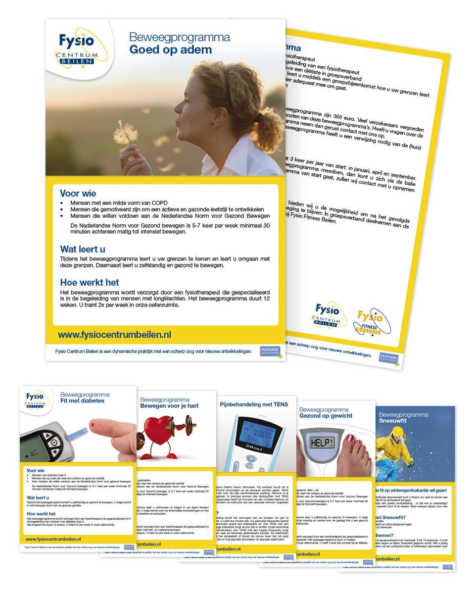 Ontwerp van de flyers voor de verschillende disciplinesen behandelmethoden