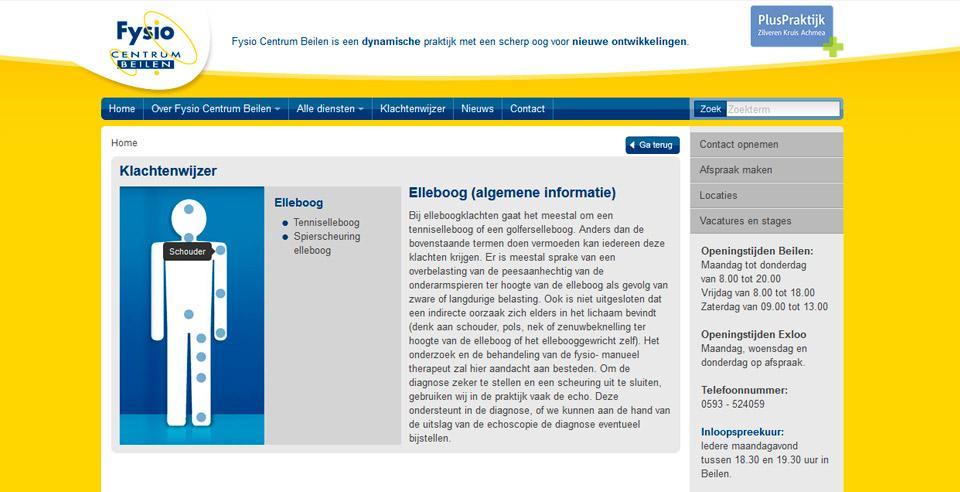 Online klachtenwijzer op de website voor patiënten. In de klachtenwijzer zijn de meest voorkomende klachten en behandelmethodes opgenomen.