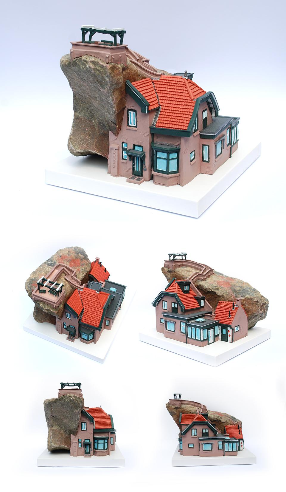 Huis van klei kunstwerk