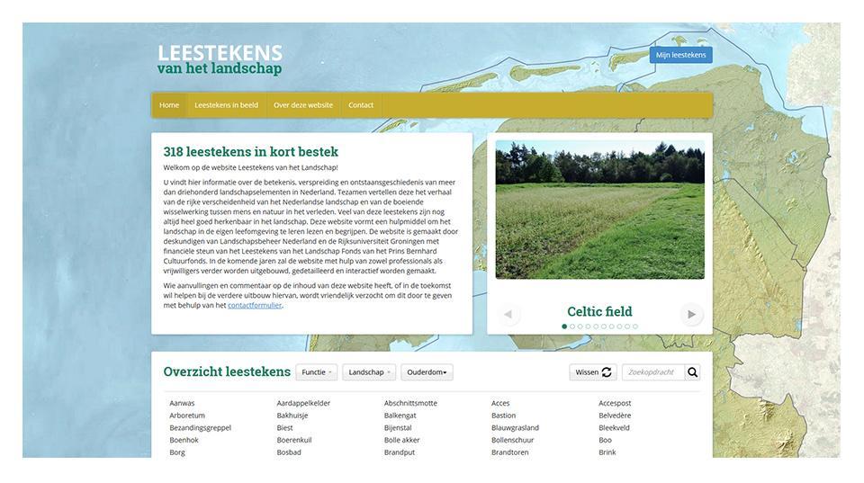 Ontwerp website www.leestekensvanhetlandschap.nl
