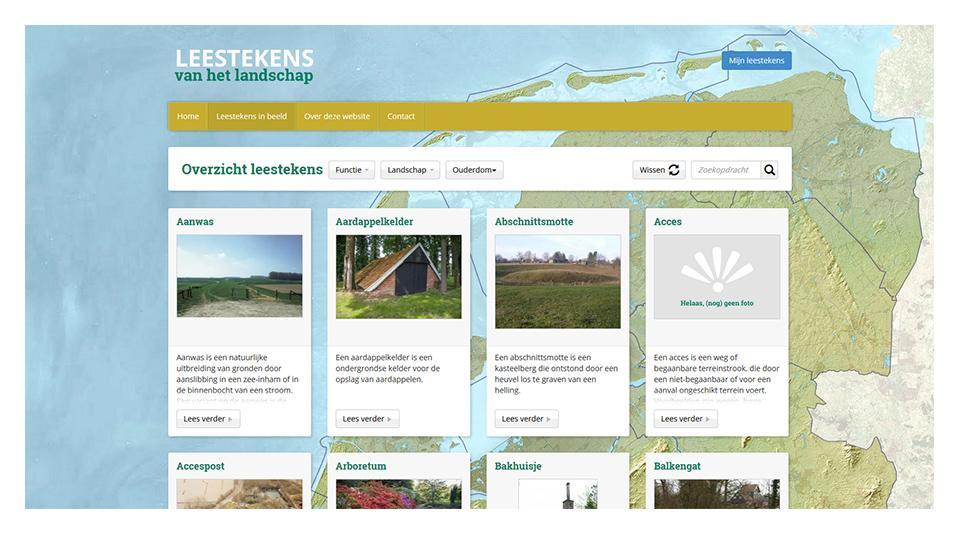Leestekens in beeld pagina www.leestekensvanhetlandschap.nl
