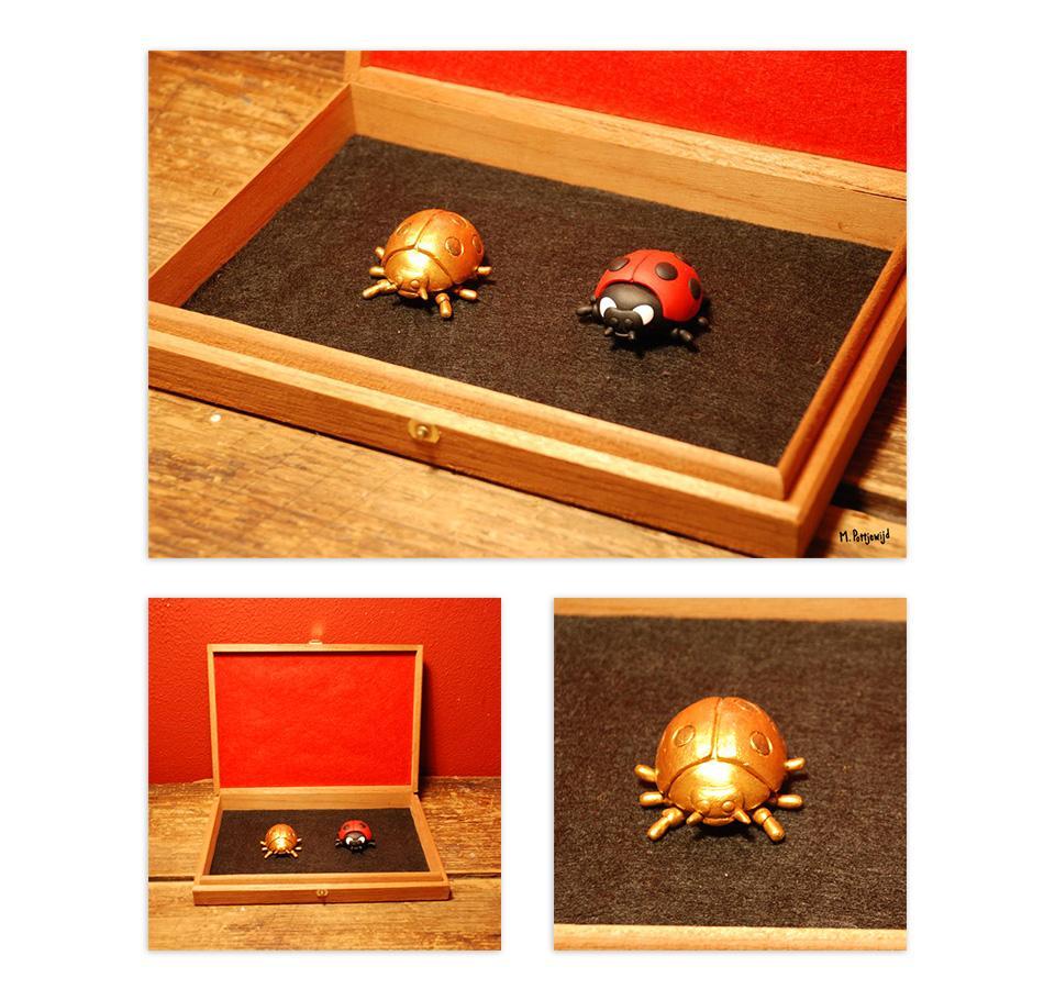 Gemaakt voor Tineke Better een kunstenaar die lieveheerstbeestjes spaart. Het kistje en de lieveheersbeestjes zijn voorzien van magneetjes zodat het goed op zijn plek blijft zitten.  Gemaakt van klei en beschilderd met acrylverf.