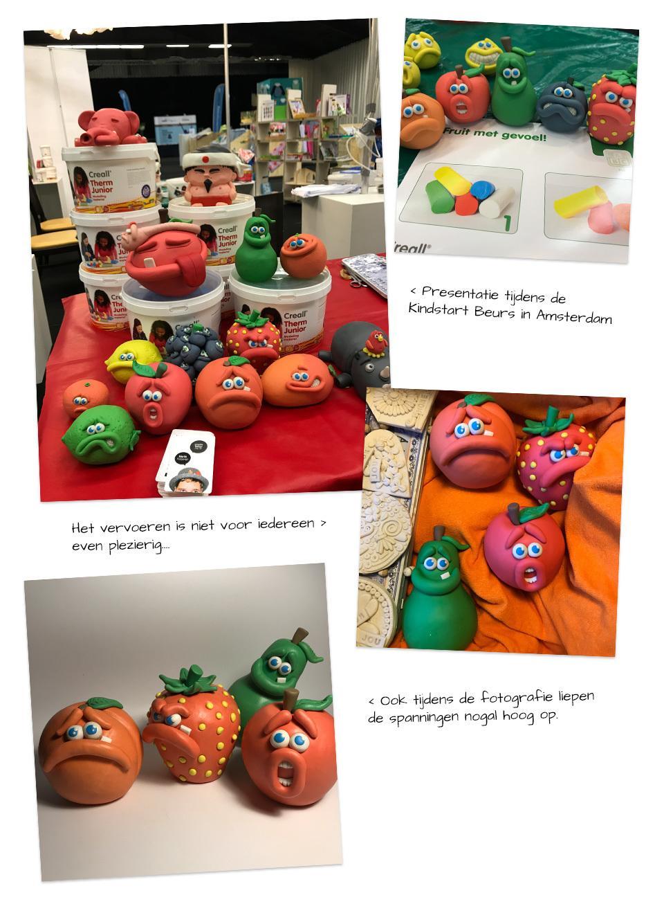 Fruit met gevoel en emoties van klei