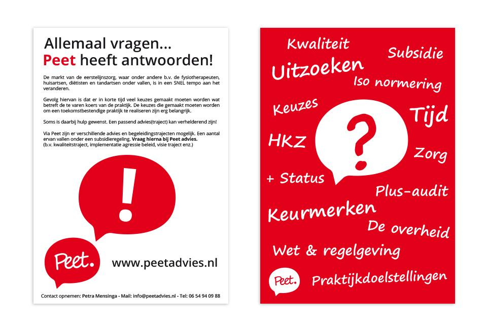 Ontwerp A5 flyer Peet Advies
