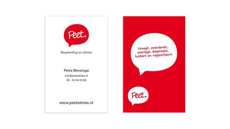 Ontwerp visitekaartje Peet Advies