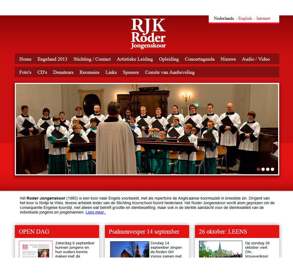 Ontwerp website Roder Jongenskoor