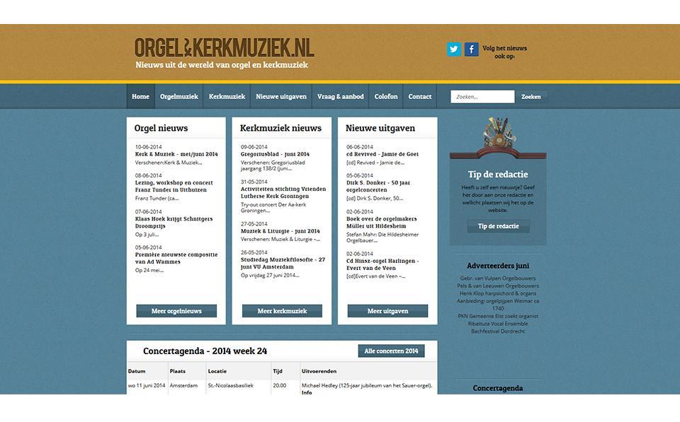 Ontwerp website orgelenkerkmuziek.nl