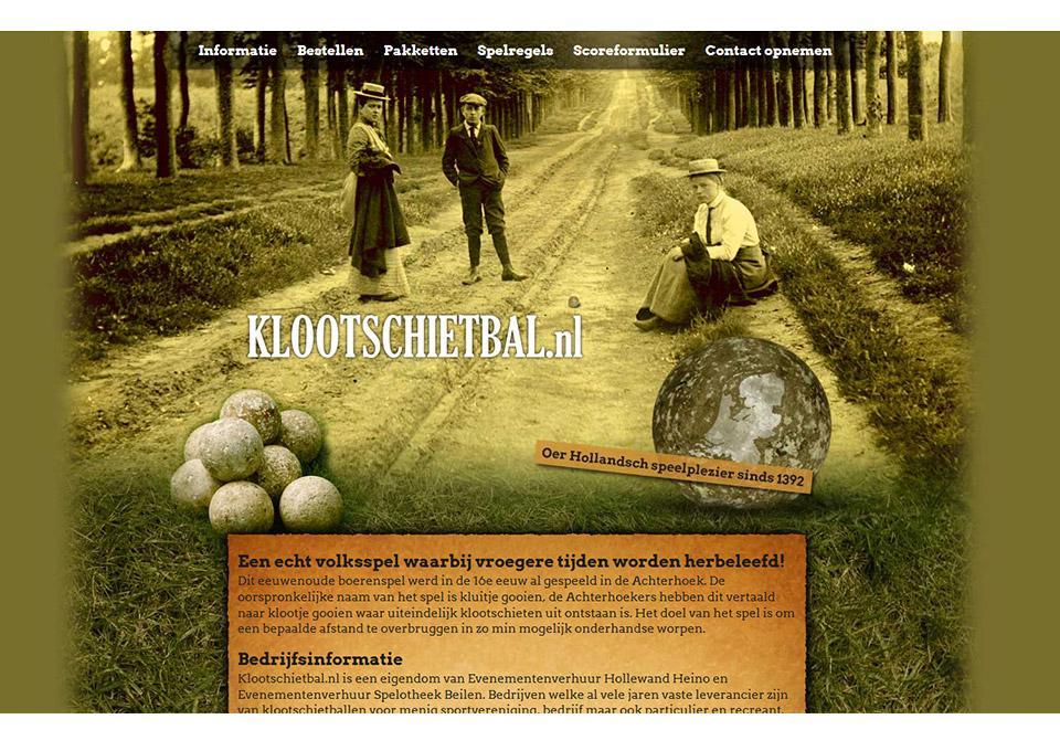Ontwerp website www.klootschietbal.nl